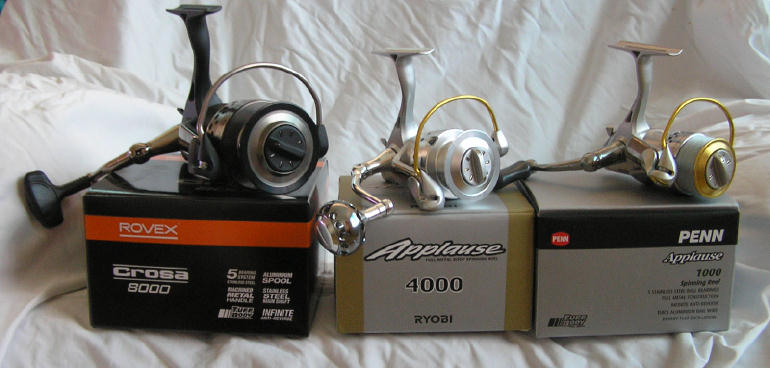 spinning reels from various manufacturers